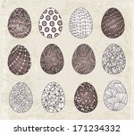 set of easter eggs with... | Shutterstock .eps vector #171234332