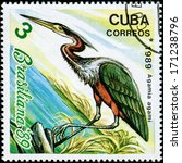 Small photo of CUBA - CIRCA 1989: A stamp printed in the Cuba, shows the exotic bird, agamia agami, circa 1989