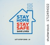 stay home  stay safe poster... | Shutterstock .eps vector #1712454322