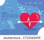 heartbeat with coronavirus... | Shutterstock .eps vector #1712463445