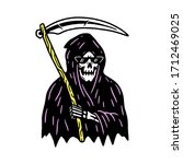 grim reaper with scythe color... | Shutterstock .eps vector #1712469025