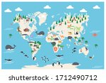 the world map with cartoon... | Shutterstock .eps vector #1712490712