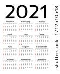 calendar for 2021 isolated on a ... | Shutterstock .eps vector #1712510548