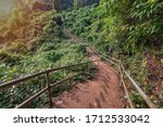 magical trails through a mountain forest in a tourist place Yana Rocks this is an old stone formation with caves inside. Karnataka. India. Indian tourism concept