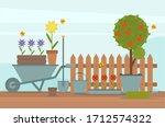 concept of gardening. spring... | Shutterstock .eps vector #1712574322