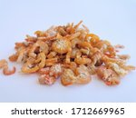 Dried Shrimp Isolated On White...