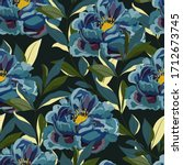 Large Blue Peonies Flowers With ...