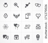 valentine's day icons and love icons set - stock vector