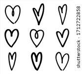 hand drawn heart outline set. ... | Shutterstock .eps vector #1712722858