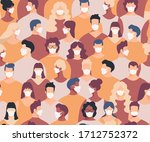 masked crowd seamless pattern.... | Shutterstock .eps vector #1712752372