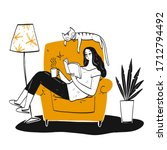 the woman reading a book on... | Shutterstock .eps vector #1712794492