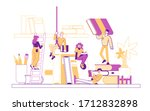 tiny male female character on... | Shutterstock .eps vector #1712832898