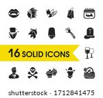 witch icons set with superhero  ... | Shutterstock .eps vector #1712841475