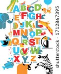 the alphabet with bright ... | Shutterstock .eps vector #1712867395