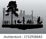people silhouettes   urban... | Shutterstock . vector #1712928682
