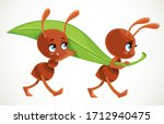 two cute cartoon ants carry big ...   Shutterstock .eps vector #1712940475