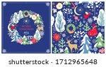 christmas greeting craft blue... | Shutterstock . vector #1712965648