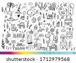 vector illustration of doodle... | Shutterstock .eps vector #1712979568