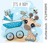 greeting card its a boy with... | Shutterstock .eps vector #1712993095