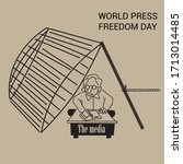 cartoon for world press freedom ... | Shutterstock .eps vector #1713014485