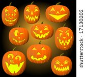 nine jack o lanterns for... | Shutterstock .eps vector #17130202