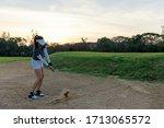 Asian Golfer Woman Playing Gol...
