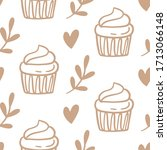 cupcakes seamless pattern with... | Shutterstock .eps vector #1713066148