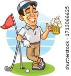 Drunk Golfer Holding A Glass...