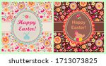 funny childish easter greeting... | Shutterstock . vector #1713073825