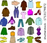 a lot of clothes and shoes.... | Shutterstock .eps vector #1713179872