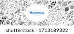 hummus cooking and ingredients... | Shutterstock .eps vector #1713189322