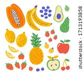 flat set hand drawn healthy... | Shutterstock .eps vector #1713193858