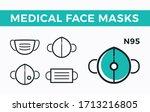 medical face masks. vector thin ...   Shutterstock .eps vector #1713216805