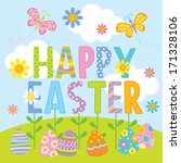 a cute illustrations of easter. | Shutterstock .eps vector #171328106