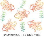 goldfish and waterweed line... | Shutterstock .eps vector #1713287488