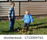 Two Small Boys  Brothers In A...