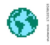 earth. pixel earth globe image. ...