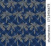 beautiful seamless beige palm... | Shutterstock .eps vector #1713406675