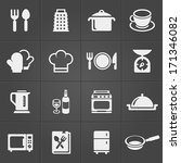 kitchen icons on black... | Shutterstock .eps vector #171346082