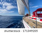 yacht sailing in the sea in... | Shutterstock . vector #171349205