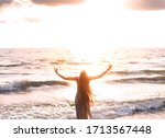 Happy Woman Stands Seashore...