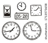 set of hand drawn watches...   Shutterstock .eps vector #1713573658
