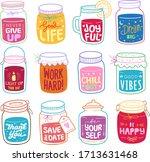 set of positive quote in jar...   Shutterstock .eps vector #1713631468