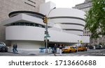 Small photo of NEW YORK USA OCTOBER 27 2013: Solomon R. Guggenheim Museum, or The Guggenheim home of a continuously expanding collection of Impressionist, Post-Impressionist, early Modern, and contemporary art