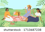 group of young women at a... | Shutterstock .eps vector #1713687238