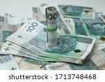 polish currency  paper money on ... | Shutterstock . vector #1713748468