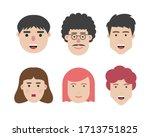 set of human character flat... | Shutterstock .eps vector #1713751825
