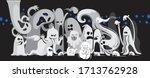 monochrome ghost apparition... | Shutterstock .eps vector #1713762928