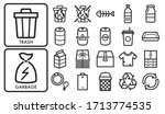 Garbage Sorting Vector Icon Set.