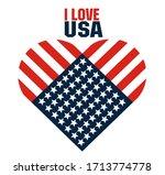 I Love Usa. Symbols Heart And...